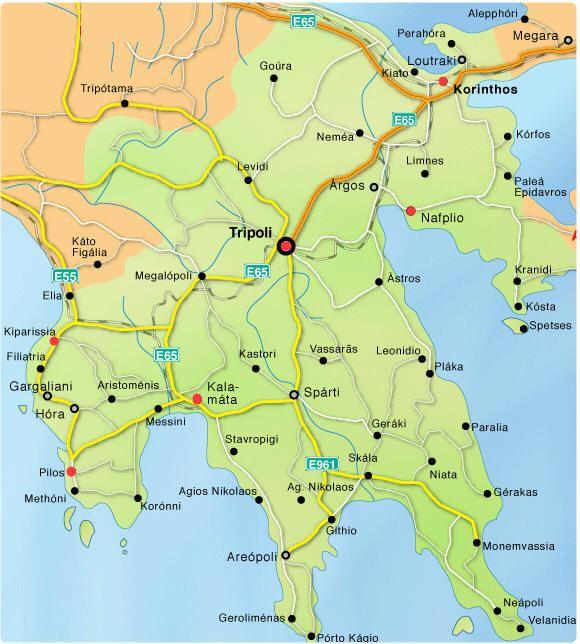 Cartina stradale peloponneso for Cartina della grecia antica da stampare