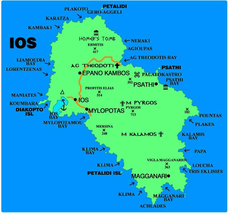 Ios Cartina Geografica.Mappa Ios Cartina Di Ios