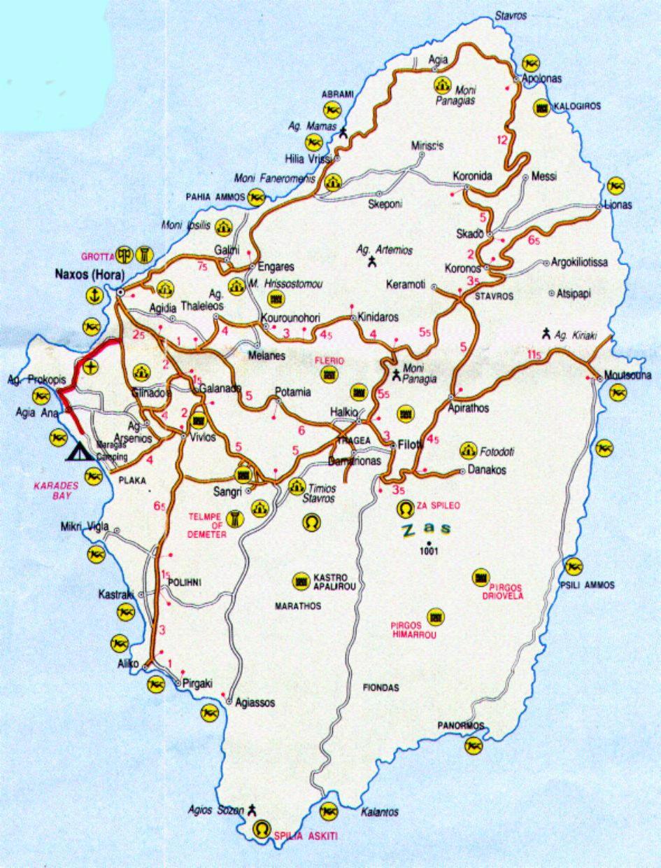 Ios Cartina Geografica.Mappa Naxos Cartina Di Naxos