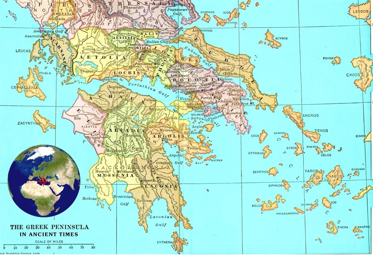 Cartina Geografica Della Grecia.Mappa Della Grecia Classica