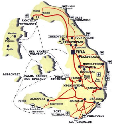 Ios Cartina Geografica.Mappa Santorini Cartina Di Santorini